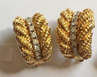 Vintage Designer, 'Panetta' Clear Rhinestone & Gold Earrings