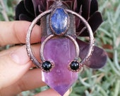 Amethyst Love collection: amethyst, lapiz Lazuri and onyx electroformed copper pendant, Tribal fusion boho gypsy style necklace