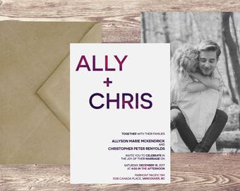 The Vancouver Wedding Invitation with Photograph and RSVP, Photograph Wedding Invitations, Wedding Invitations with Picture, Elegant Wedding