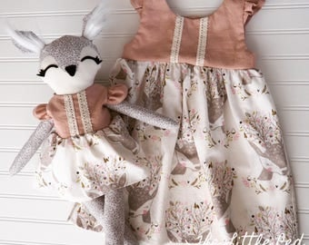 Girl and Doll Matching Dresses *Oh Deer!* With or without deer doll- size 4t ready to ship!