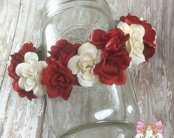 Rose Garden Floral Crown~ red rose headband, rose floral halo, red and white floral crown, rose headband photo prop