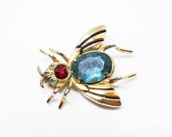 Coro Pegasus Bug Fly Insect Blue Red Book Piece Brooch
