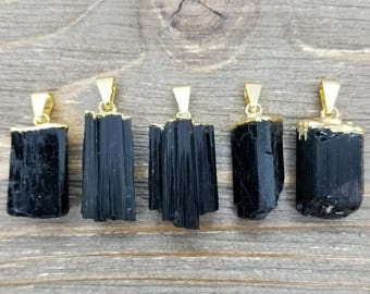 Raw Black Tourmaline Pendant High Quality