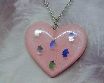 Kawaii Pink Unicorn Resin Heart Necklace