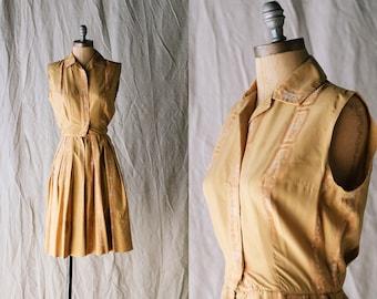 50s Neiman Marcus Mustard Yellow Silk Brocade Midi Dress - 1950s Mid-length Shirtwaist Dress - X-Small XS
