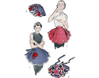 1950s Sewing Pattern One Yard Reversible Hostess Apron with Rose Applique, One Size, Vintage Advance 7751