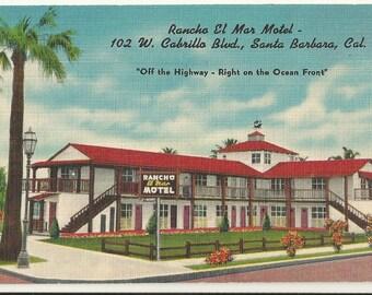 1940s Linen Postcard- Roadside View of Rancho El Mar Motel, Santa Barbara, California, CA. ~ Free Shipping