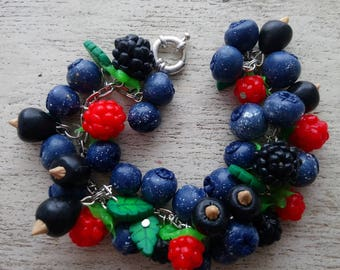 Berries Forest berries Bracelet whis berries Bracelet with wild berries Blueberry Strawberry   Bracelet raspberry Summer bracelet Blueberry