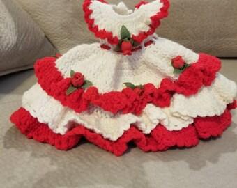 Vintage Hand Crochet Doll Dress