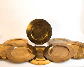 12 Piece Brass Charger Collection Made in India Tarnished Brass Chargers Dinner Party Chargers Set of 12