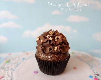 Fake Cupcake Handmade Fake Chocolate Lover's CaramelCupcake with Whipped Frosting, Chocolate Syrup and nuts