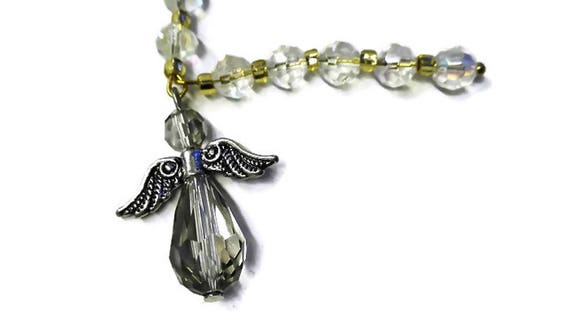 Crystal mini Rosary, prayer beads with angel