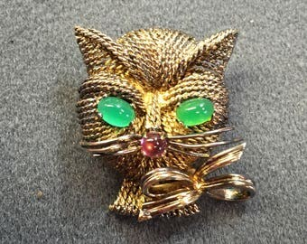 Rare Grosse Germany Vermeil Sterling Cat Brooch with Green Eyes.  Free shipping