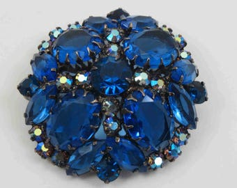 DELIZZA & ELSTER Juliana Montana Sapphire and Aurora Borealis Rhinestone Brooch Japanned - Book Piece