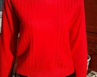 Bright red 1960s wool jumper with back centre zip great practical colourful stylish separate