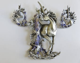 JJ Jonette Stunning Unicorn And Matching Earrings Set