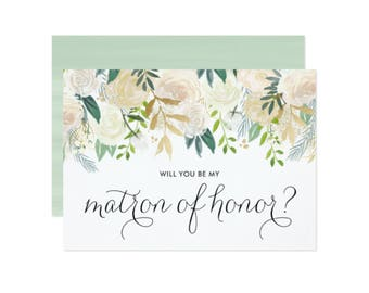 INSTANT DOWNLOAD Wedding Card - Printable Card - Watercolor Peonies with Gold Glitter and Foil Will You Be My Matron of Honor Card - 5 x 7