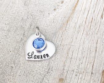 Add on extra HEART name tag WITH birthstone. NOT for individual sale.