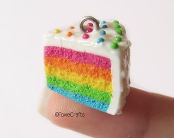 Rainbow Cake Slice - Cute Kawaii Realistic Miniature Food Polymer Clay Charm