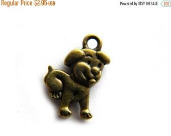 HALF PRICE 10 Bronze Puppy Charms  - Small Dog
