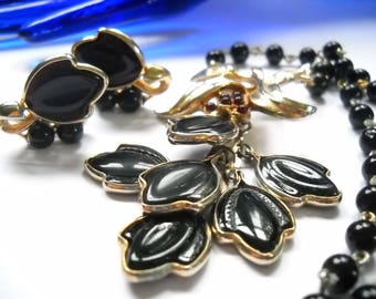 Set Necklace Earrings Poured Glass Black Poured Glass Necklace Earrings Glass Leaves Regency Mid Century
