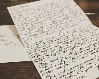 Wedding Day Letter, Custom Handwritten Love Letter, Calligraphy, To My Husband, To My Wife