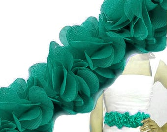 Gathered 6 cm Green 8 organza Ribbon
