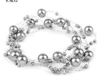 Wreath adorned with pearls 130 cm grey Pearl