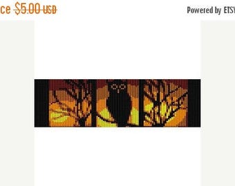 SALE HALF PRICE off Instant Download Beading Pattern Peyote Stitch Bracelet Night Owl Halloween Seed Bead Cuff