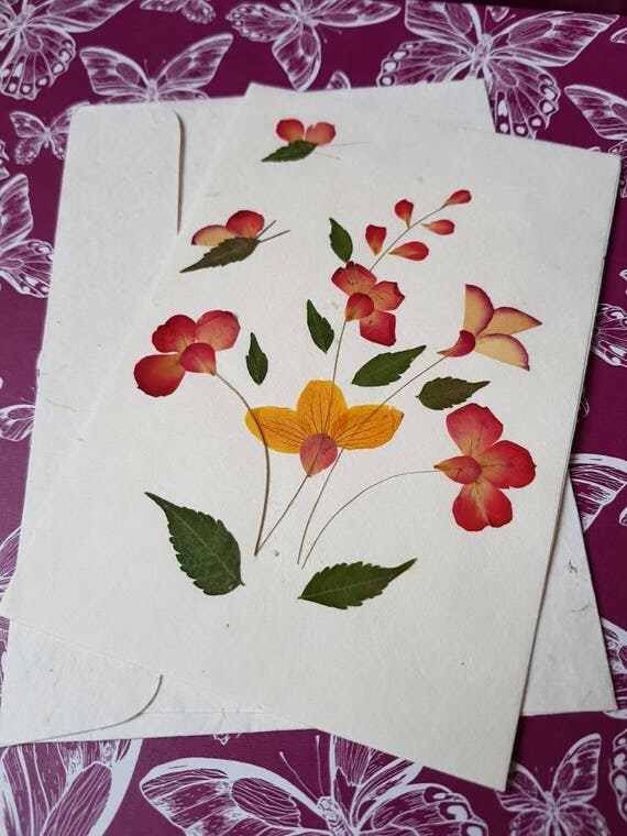 Real pressed flower blank greeting card