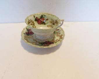 Shafford OJ hand painted red pink rose green gold cup and saucer VGU
