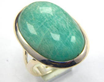 Amazing Amazonite 92.5 sterling silver Handmade Ring 11.48 gm Amazonite gemstone 16x24 mm ,ring size us 8 at best price