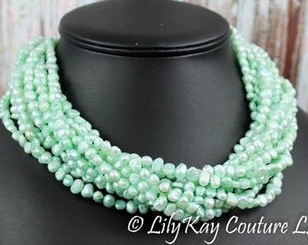 Mint Bridal Necklace Chunky Pearl Bridal Necklace Statement Wedding Necklace Mint Green Wedding Necklace Green Pistachio Freshwater Pearl