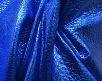 "Electric Blue Oasis Metallic ""Vegas"" Leather Cow Hide 8"" x 10"" Pre-Cut  3 1/2 ounces grainy TA-26155 (Sec. 8,Shelf 4,A)"