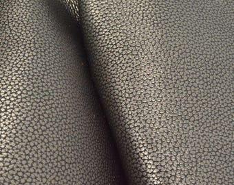 "Metallic Basic Gunmetal Leather Cow Hide 12"" x 12"" Pre-cut 4-5 oz grainy DE-66246 (Sec. 5,Shelf 4,B)"