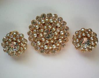 Signed Judy Lee Brooch and Clip Earrings - 5532
