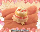 Strawberry Shortcake Chunky Ring Kawaii Miniature Food Fairy Kei Sweet Lolita Pastel Goth