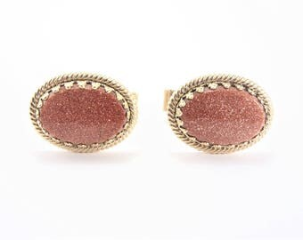 Vintage Oval Goldstone Cuff Links Gold Tone