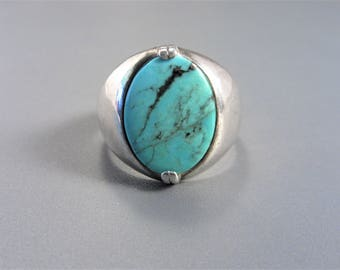 Mens Vintage Southwestern Sterling Turquoise Ring Size 12