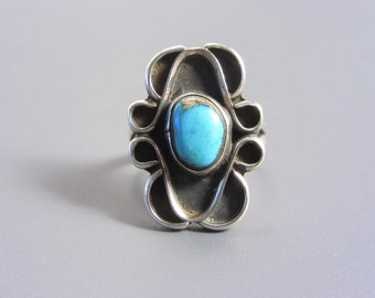 Vintage Native American Sterling Turquoise Ring Size 6.5