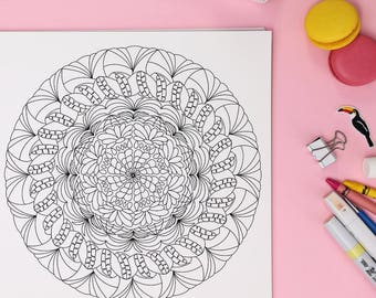 Printable Mandala Coloring Page: A digital coloring page for adults perfect for stress relief, relaxing and meditation.