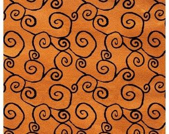 Witchy Orange w Black Swirls Studio E - Ffabric by the yard