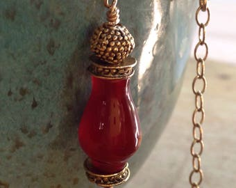 Red Agate Amulet Pendant, Brick Red Stone Amulet Necklace, Dark Orange Stone Necklace, Gold Satellite Necklace, River of Beauty Designs