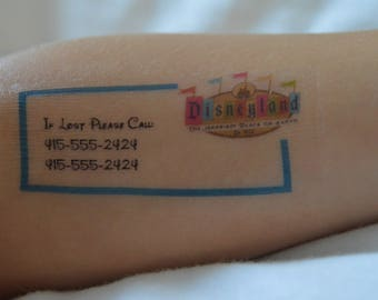28 California Theme Park Emergency Contact/Safety Temporary Tattoos