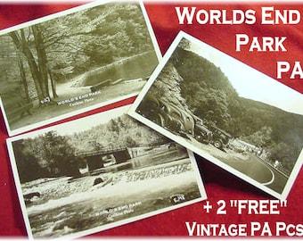 RPPC Postcard - Worlds End State Park - Forksville Pa - Picnic Area Creek Bridge + 2 FREE Pa Pcs - Pennsylvania - Caulkins - FREE Shipping