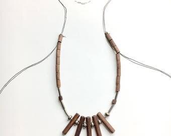 Vintage Aarikka wood & metal necklace-Kaija Aarikka, Made in Finland, 1960s
