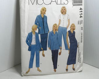d155 Mccall's 4114, womens, sewing pattern,   uncut,skirt,jacket,pull on pants, top, vest, size, 16 ,18, 20, 22  uncut