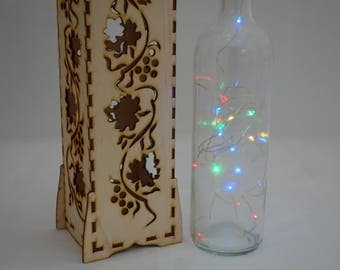 Wine box and fairy lights bottle set, room decoration and gift