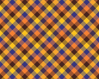 Brown, orange, yellow and navy plaid craft vinyl sheet - HTV or Adhesive Vinyl -  Thanksgiving fall check HTV1856