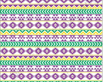 Purple, yellow and green tribal pattern craft  vinyl sheet - HTV or Adhesive Vinyl -  Aztec Peruvian pattern Mardi Gras HTV935